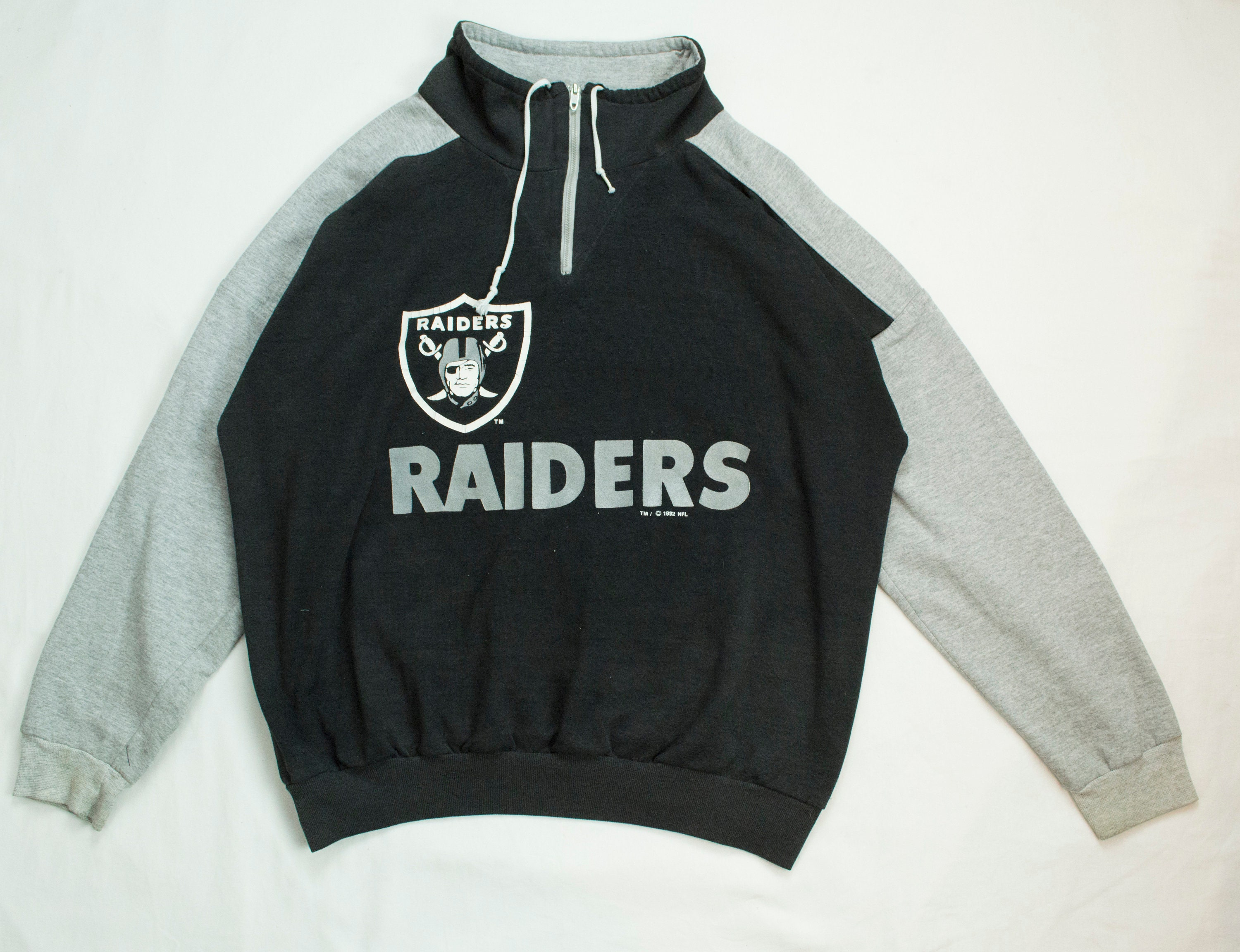 90s Oakland Raiders 1/4 Zipper Crewneck Sweater. - Made in USA ...