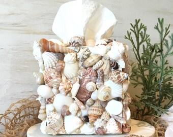 Shell Tissue Box Cover, Kleenex Box Cover, Seashell Bathroom Decor, Beach Bathroom Decor, Beach Decor, Coastal Decor, Coastal Decor Beach
