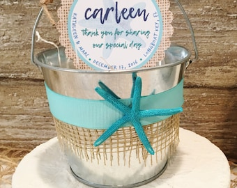 Beach Wedding Sand Pail Favors, Destination Wedding Favor Bags, Beach Wedding Gift Basket, Personalized Favor Tags, Galvanized Bucket