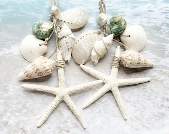Beach Curtain Decor Shell Tassel Window Shower Ties Tiebacks Starfish Holdback