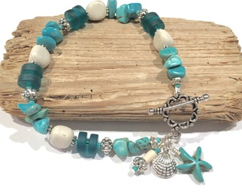 Teal Sea Glass Bracelet, Stone Bracelet, Beach Bracelet, Jewelry Gift, Gifts for Her Under 30, Beach Glass Bracelet, Turquoise Bracelet