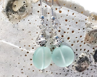 Aqua Sea Glass Earrings, Beach Jewelry, Ocean Jewelry, Sea Glass Jewelry, Beach Glass Jewelry, Ocean Earrings, Sea Glass Dangle Earrings