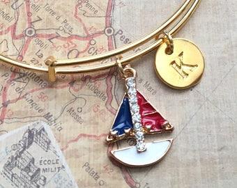 Sailboat Bracelet, Sailing Bracelet, Sailboat Jewelry, Sailing Jewelry, Sailing Gift, Sailboat Gifts for Women, Personalized Sailing Gift