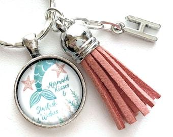 Mermaid Initial Keyring, Mermaid Kisses and Starfish Wishes, Mermaid Lover Gifts, Cabochon Keychain, Mermaid Key Chain, Personalized Gift