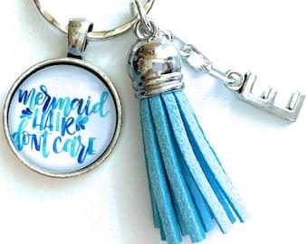Mermaid Key Chain, Mermaid Hair Don't Care, Personalized Gift, Tassel Keychain, Initial Keyring, Mermaid Lover Gifts, Mermaid Theme Birthday