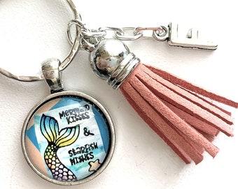 Mermaid Lover, Mermaid Keychain, Mermaid Kisses and Starfish Wishes, Personalized Gift, Initial Keyring, Mermaid Quotes, Girlfriend Gift