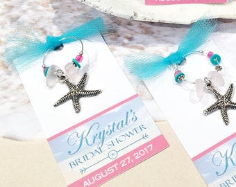 starfish favors starfish party favors personalized beach bridal shower favors beach theme beach wedding starfish favor tags wine charms