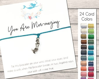 Mermaid Wish Bracelet Cards, Mermaid Bracelet, String Bracelet With Charm, You Are Mermazing, Party Favors, Appreciation, Thank You Gift