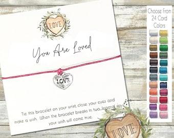 Love Wish Bracelet, Heart String Bracelet, You Are Loved, Wishlets, Girlfriend Gift, Best Friend Gift, Valentines Gift, Anniversary Gift