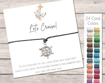Let's Cruise Wish Bracelet, Girls Trip Gifts, Cruise Gift Ideas, Ships Wheel Nautical Jewelry, Friendship Bracelet, String Bracelet for Her