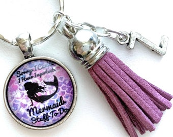 Quote Keychain, Mermaid Key Chain, Personalized Gift, Beach Lover Gift, Mermaid Lover Gift Under 15, Mermaid Accessories, Mermaid Party