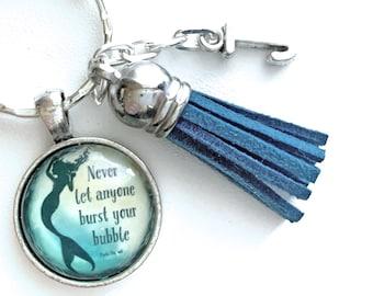 Mermaid Keychain, Quote Keyring, Personalized Gift, Custom Key Chain, Birthday Gifts Under 15, Best Friend, Sister, Mom, Girlfriend Gift
