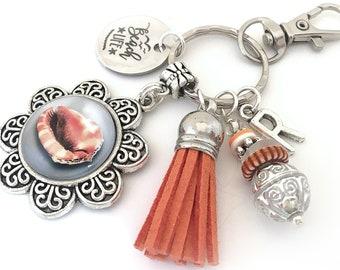 Beach Life Charm Keychain, Seashell Keychain, Initial Keyring, Personalized Beach Retirement Gift, Seashell Key Ring, Orange Tassel Keychain