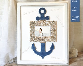 Personalized Nautical Guest Book Alternative Nautical Wedding Guest Book Anchor Guest Book Signature Mat Unique Wedding Guestbooks