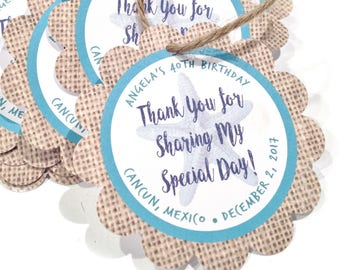 Thank You For Tags, Burlap Thank You Tags, Beach Thank You Tags, Rustic Thank You Tags, Personalized Gift Tags, Personalized Favor Tags