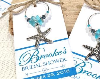 beach bridal shower favors beach wedding favors starfish wedding personalized favor tags wine charms personalized bridal shower wine charms