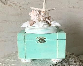 Seashell Box, Starfish Box, Trinket Box With Lid, Decorative Box, Shell Box, Aqua Beach Art, Beach Lovers Gift, Coastal Decor, Jewelry Box