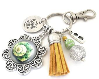 Beach Keychain, Seashell Key Ring, Initial Keyring, Personalized Beach Gift, Tassel Key Chain, Retirement Gift Stocking Stuffer Housewarming