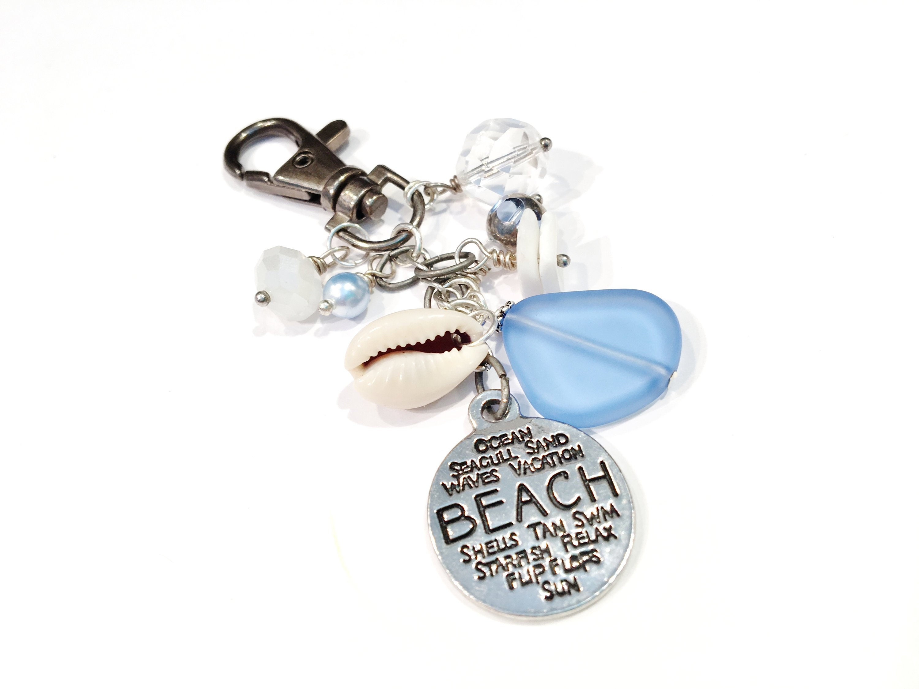 Bling Beach Vibe Silver and Turquoise Shell Purse Charm or Key Chain Gift for Friend or New Driver