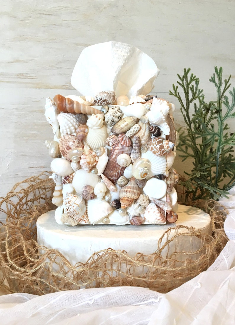 Shell Tissue Box Cover Kleenex Box Cover Seashell Bathroom Etsy
