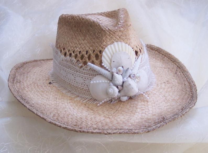 c25fefae ... Beach Hat Ladies Hats Shell Hat Beach Wedding Hat Sun Hat image 3
