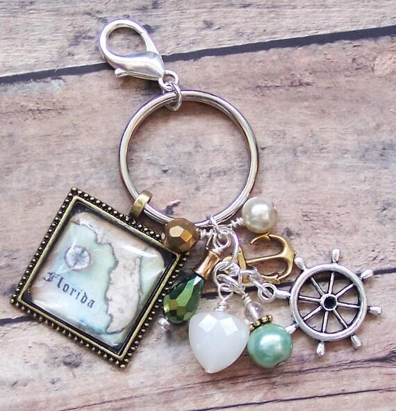 Nautical Key Holder Florida Map Nautical Key Chain Ocean Gifts Purse Charm Car Accessories Bag Charm Nautical Gifts Florida Keychain