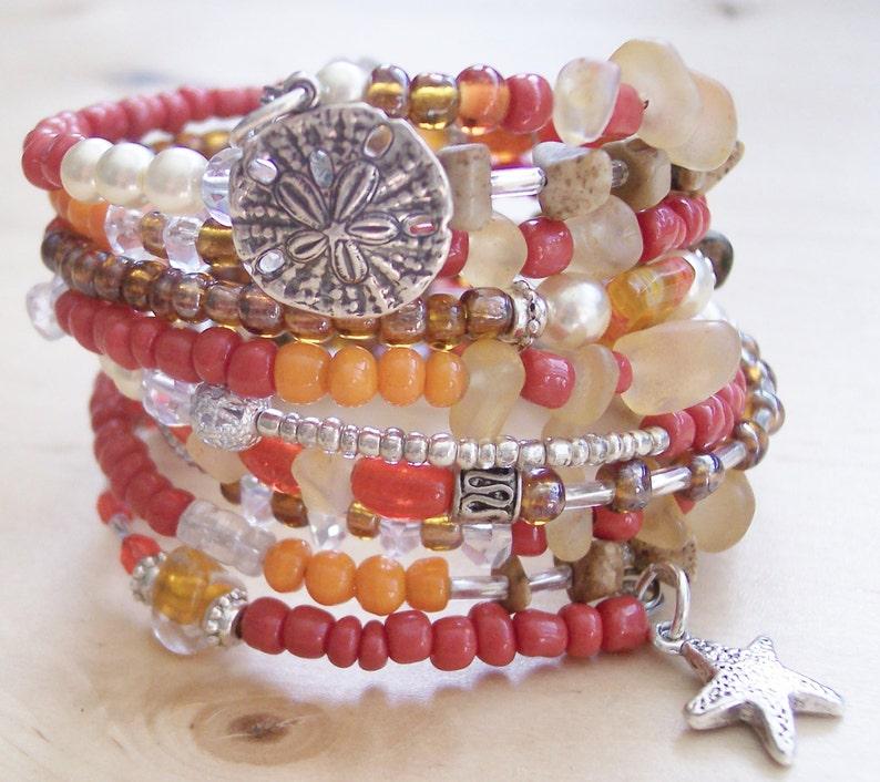 0ce114f9c86 Sand Dollar Wrap Bracelet Sand dollar jewelry Beach | Etsy