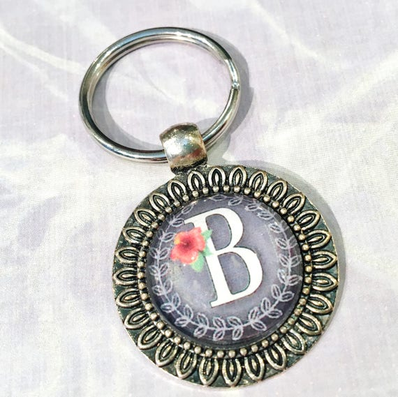 Initial Keychain, Silver Personalized Keychain For Her, Gray Initial  Keyring Monogram Keychain for Women Letter Key Chain, Cabochon Keychain