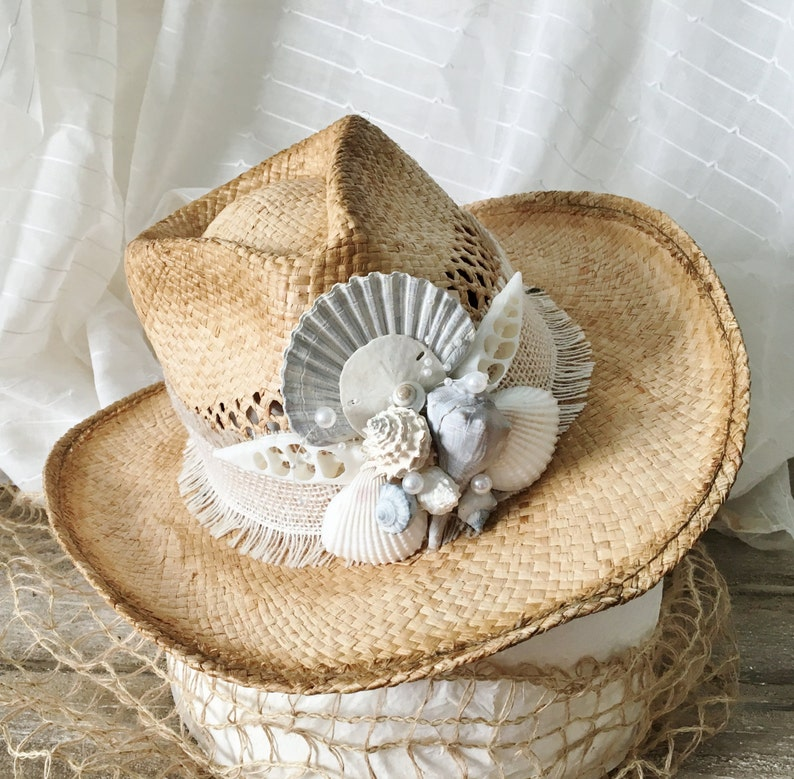 9664add1 Beach Hat Ladies Hats Shell Hat Beach Wedding Hat Sun Hat image 0 ...