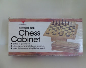 Lifted wooden fold chess cabinet set