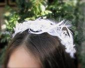White delicate chic bridal headband