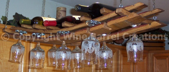 Hanging Wine Glass And Bottle Rack Made From Recycled Wine Etsy