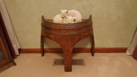 """18/"""" Solid Oak Wine Barrel End Table with Arch Legs Made By Wine Barrel Creations"""
