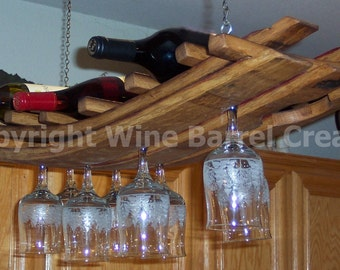Hanging Wine Glass and Bottle Rack 16+  Made From Recycled Wine Barrel Staves