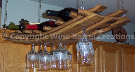 Hanging Wine Glass And Bottle Rack 16 Made From Recycled Etsy