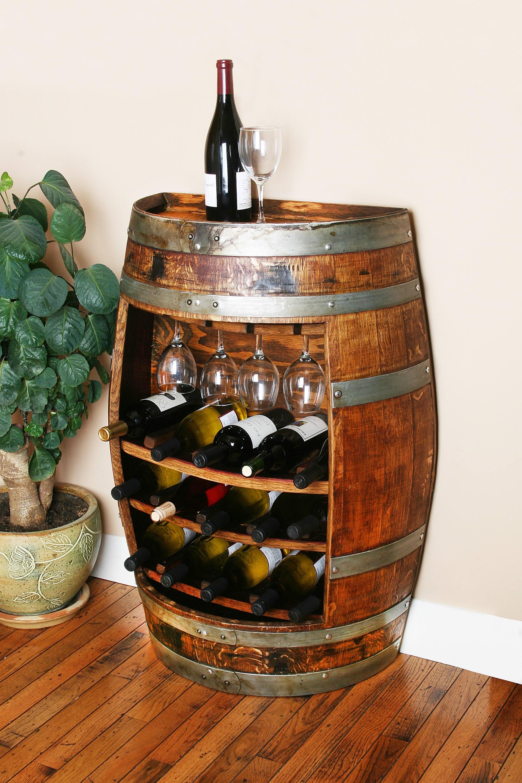Meuble En Tonneau De Vin 15 bouteilles chêne vin tonneau meuble détient 15 bouteilles de vin et 4  verres de vin par vin tonneau créations