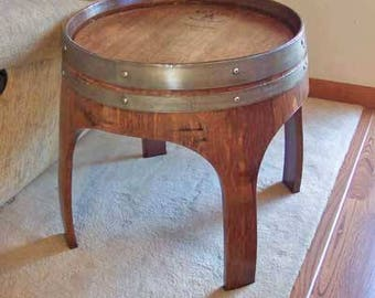 """22"""" Solid Oak Wine Barrel End Table with Arch Legs Made By Wine Barrel Creations Inc."""