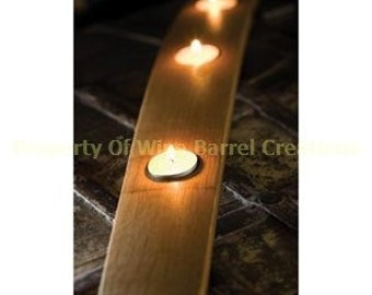 Oak Wine Barrel Stave 3 Tea Light Or Votive Candle Holder