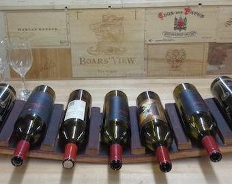 Wine Bottle Rack/ cabby Made From Wine Barrel Stave Holds 7 Bottles WBC-105
