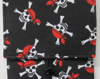 Fabric Cover for Kindle and Other E-Readers (Skulls on Black Background)
