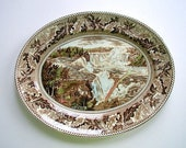 Vintage Historic America Oval Serving Platter Niagara Falls Brown Multicolor Transferware Johnson Bros England