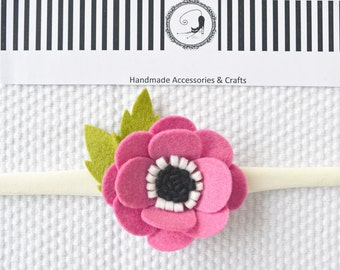 Pink Anemone Felt Flower Headband / Single Bloom Felt Headband / Felt Flower / Wedding Bridesmaid wrist corsage / Floral felt accessories