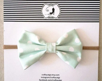 Baby headband,bow headband,girl headband,fabric headband,nylon headband, mint polka dot cotton