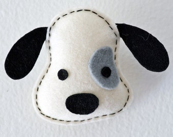 Wool Felt dog brooch/ Felt pin/ Felt accessory in white color, Felt Ornament, Christmas Gift