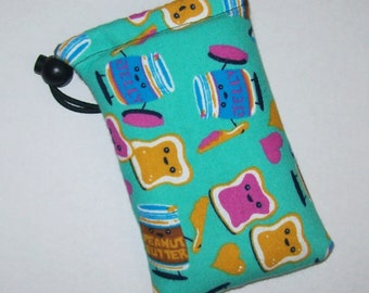 """Padded Pipe Pouch, Peanut Butter & Jelly, Best Friends Gift, Stoner Gift, Cute Bag, Glass Pipes, Pipe Cozy, Padded Pipe Bag - 5"""" DRAWSTRING"""