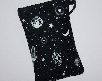 """GLOW in the DARK, Pipe Pouch, Space Pipe Case, Glass Pipe Bag, Planets, Padded Pipe Pouch, Stoner, 420 Bag, Smoke Accessory - 5"""" DRAWSTRING"""