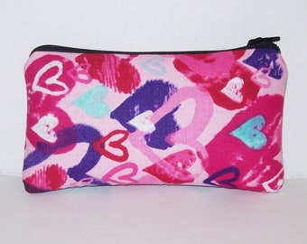 """Pipe Pouch, Cute Hearts Bag, Pipe Case, Glass Pipes, Stoner Girl, Stoner Gifts, Smoke Accessory, Padded Pipe Pouch, Zipper Bag - 5.5"""" SMALL"""