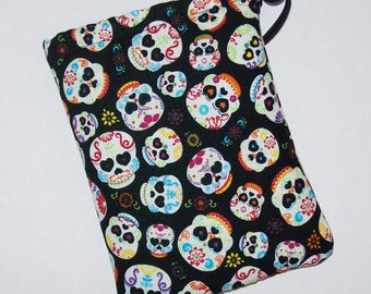"""Sugar Skull Pipe Bag, Pipe Case, Pipe Bag, Padded Pouch, Heart Eyes Pouch, Cute Pouch, Day of the Dead Bag, Smoke Accessory - 7"""" DRAWSTRING"""