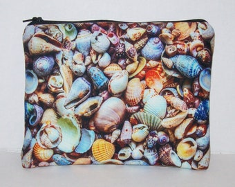 """Pipe Pouch, Seashells, Pipe Case, Pipe Bag, Padded Pipe Pouch, Glass Pipes, Ocean, Stoner Gift, Padded Pouch, Zipper Bag, 7.5"""" x 6"""" X LARGE"""