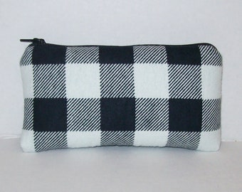 """Padded Pipe Pouch, White Black Plaid, Pipe Case, Glass Pipe Bag, Stoner Gift, Hipster, Grunge, Smoke Accessory, Zipper Pouch - 5.5"""" SMALL"""